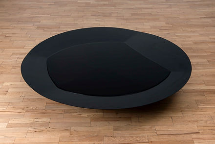 ÖMER PEKİN, Untitled (Black&Patterns), 2018,Lacquered steel & water,d. 140 h.35cm, Unique, Not available