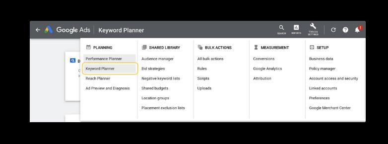 navigate keyword planner