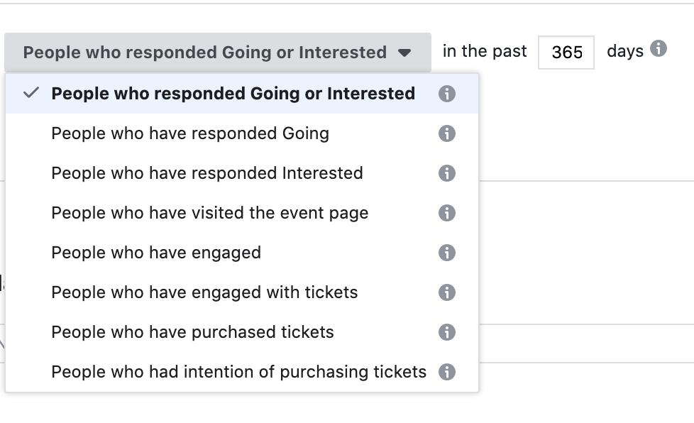 Use facebook event to create custom audience