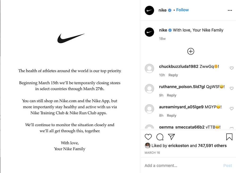 announcement from Nike