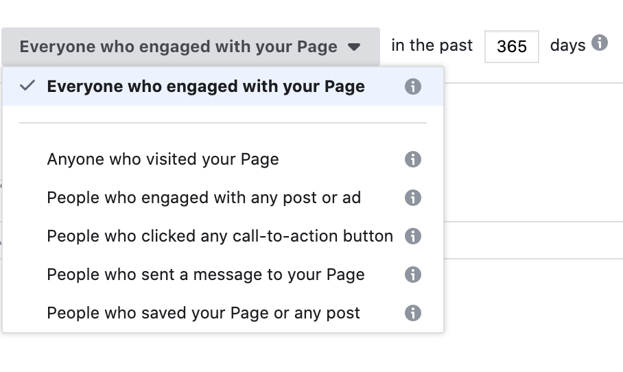 Use facebook page to create custom audience