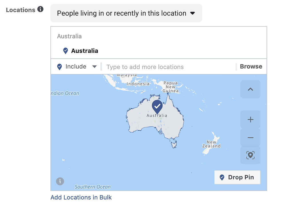 choose location in targeting audience