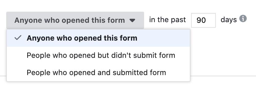 use lead form to create custom audience
