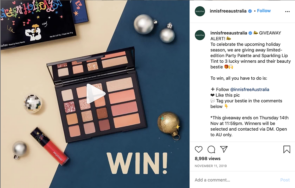 Give away from Innisfree Australia
