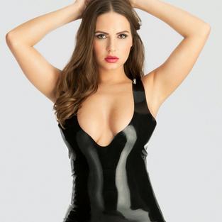 Latex Plunge Mini Dress