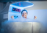 Man having a cryotherapy session in a me