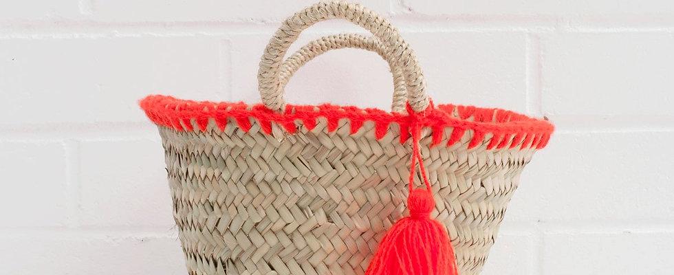 Mini Palm Basket Orange Trim