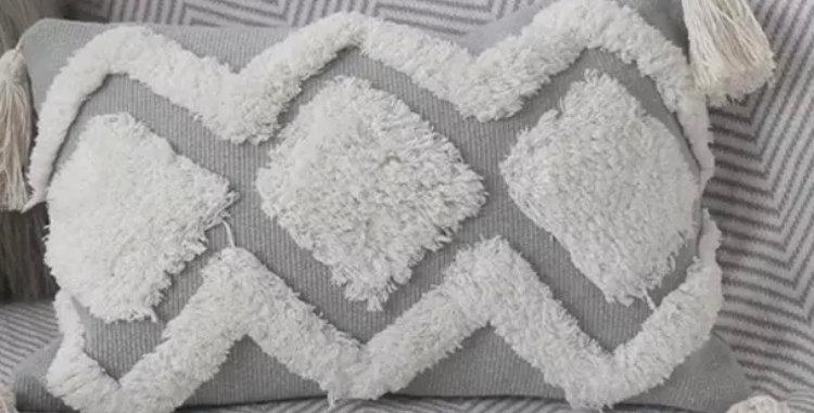 Embroidered Boho Grey, White Cushion