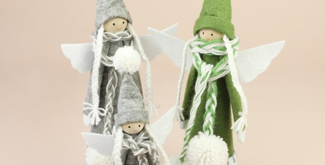 Small Felt Grey Angel Decoration