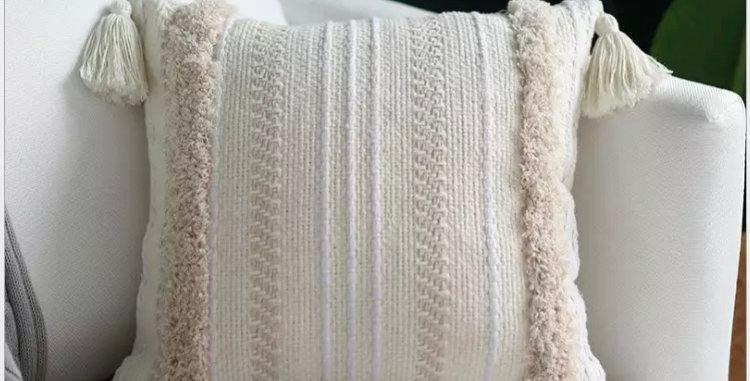 Embroidered White Boho Tassel Cushion