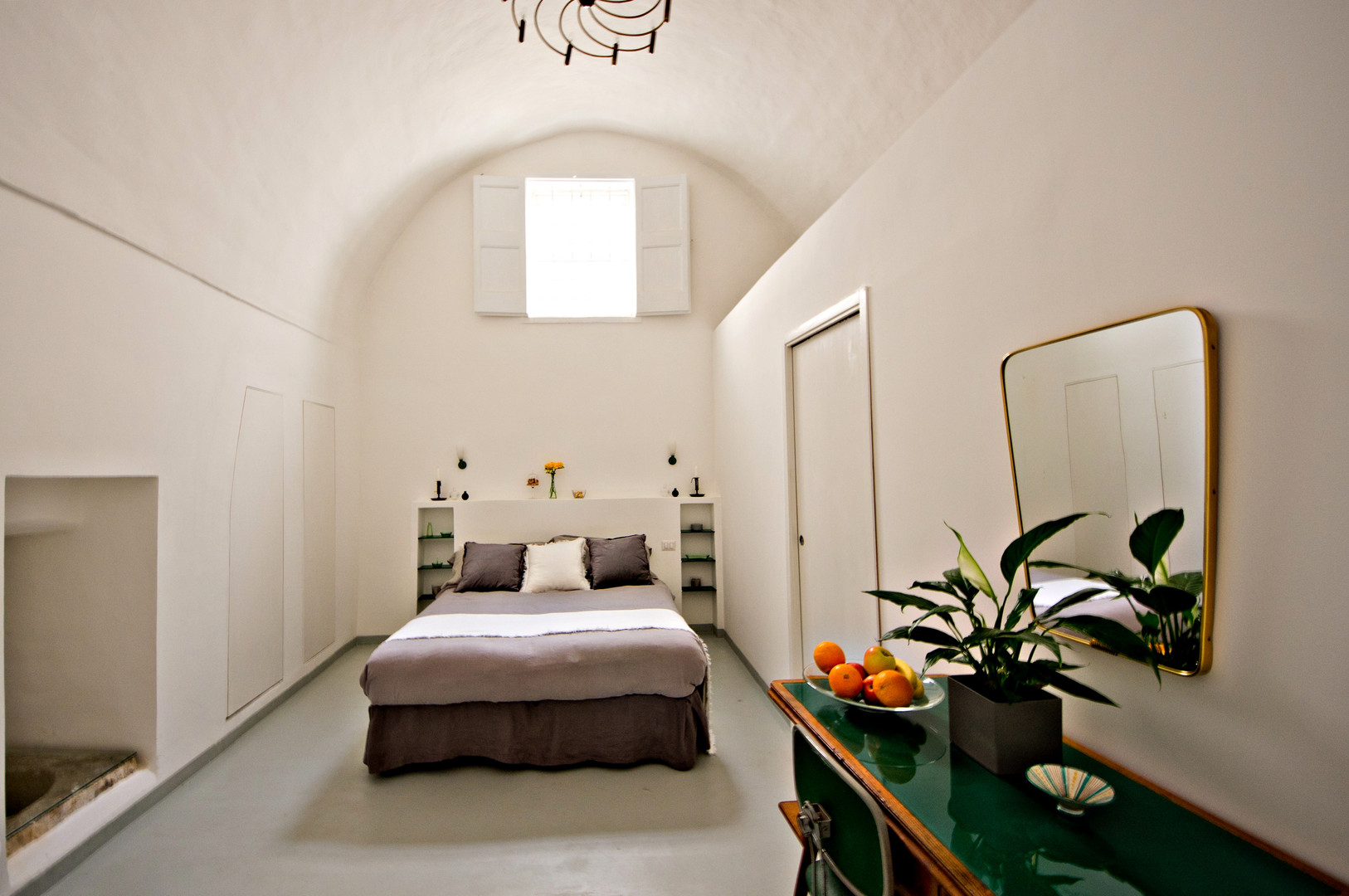 Bedroom 1 with barrel vaulted ceiling and ensuit
