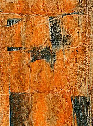 Black Rub on Rusty Orange  02