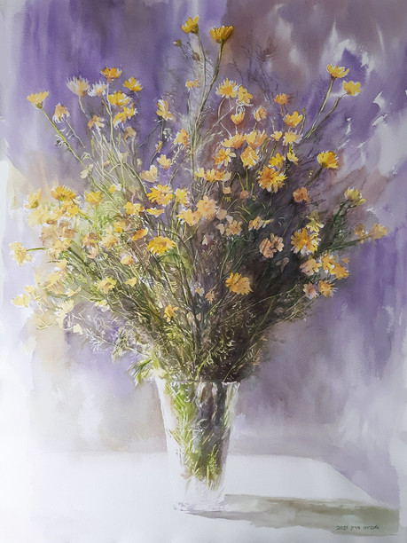 Chrysanthemun bouquet-Watercolor-55x74cm-2021