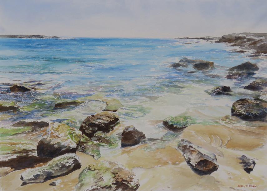 The beach-Watercolor- 70X50cm-2018