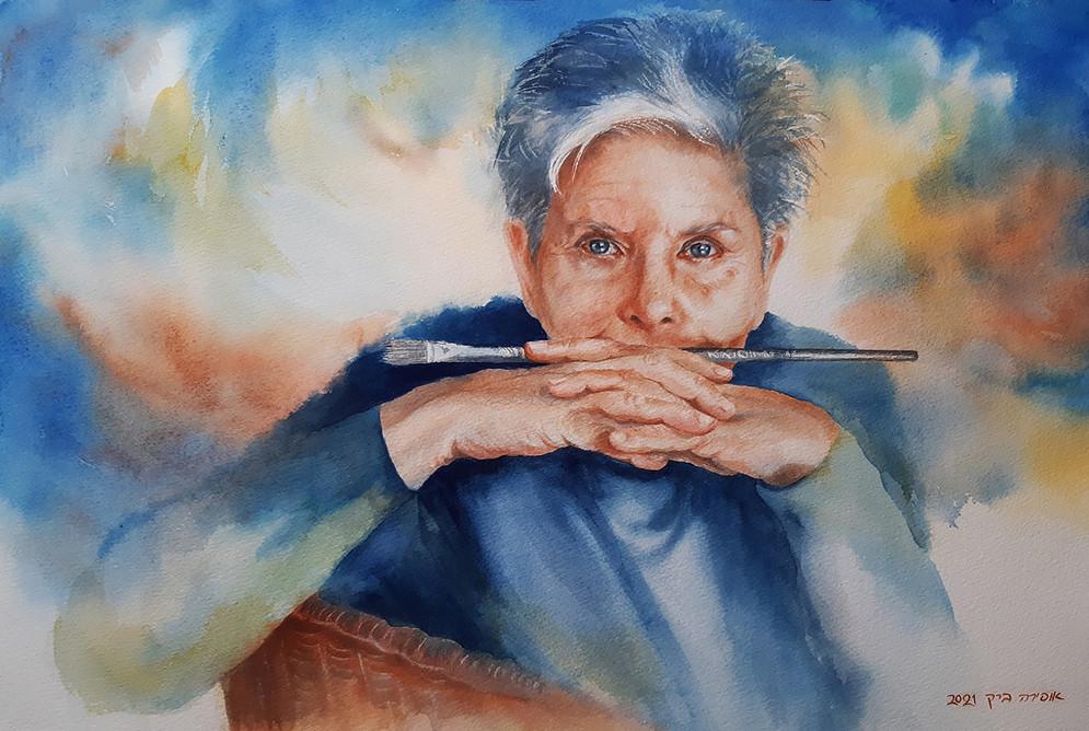 Self portrait-56X36cm-Watercolor-2021