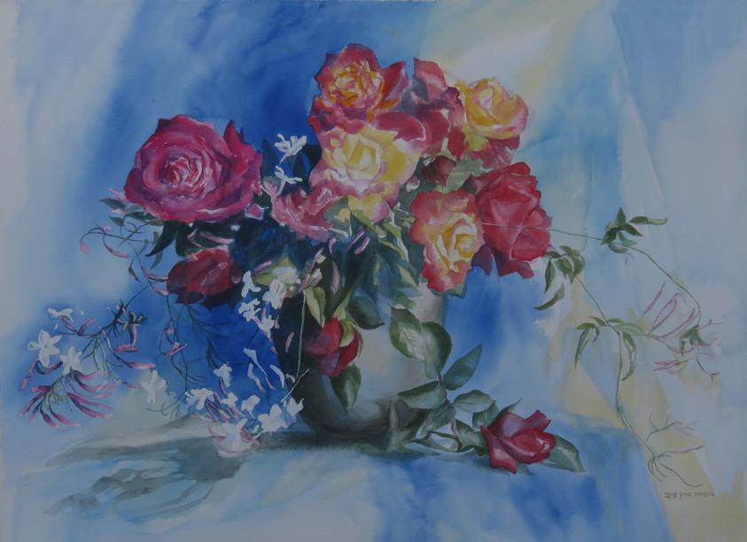 Roses-Watercolor 53X53cm-2018