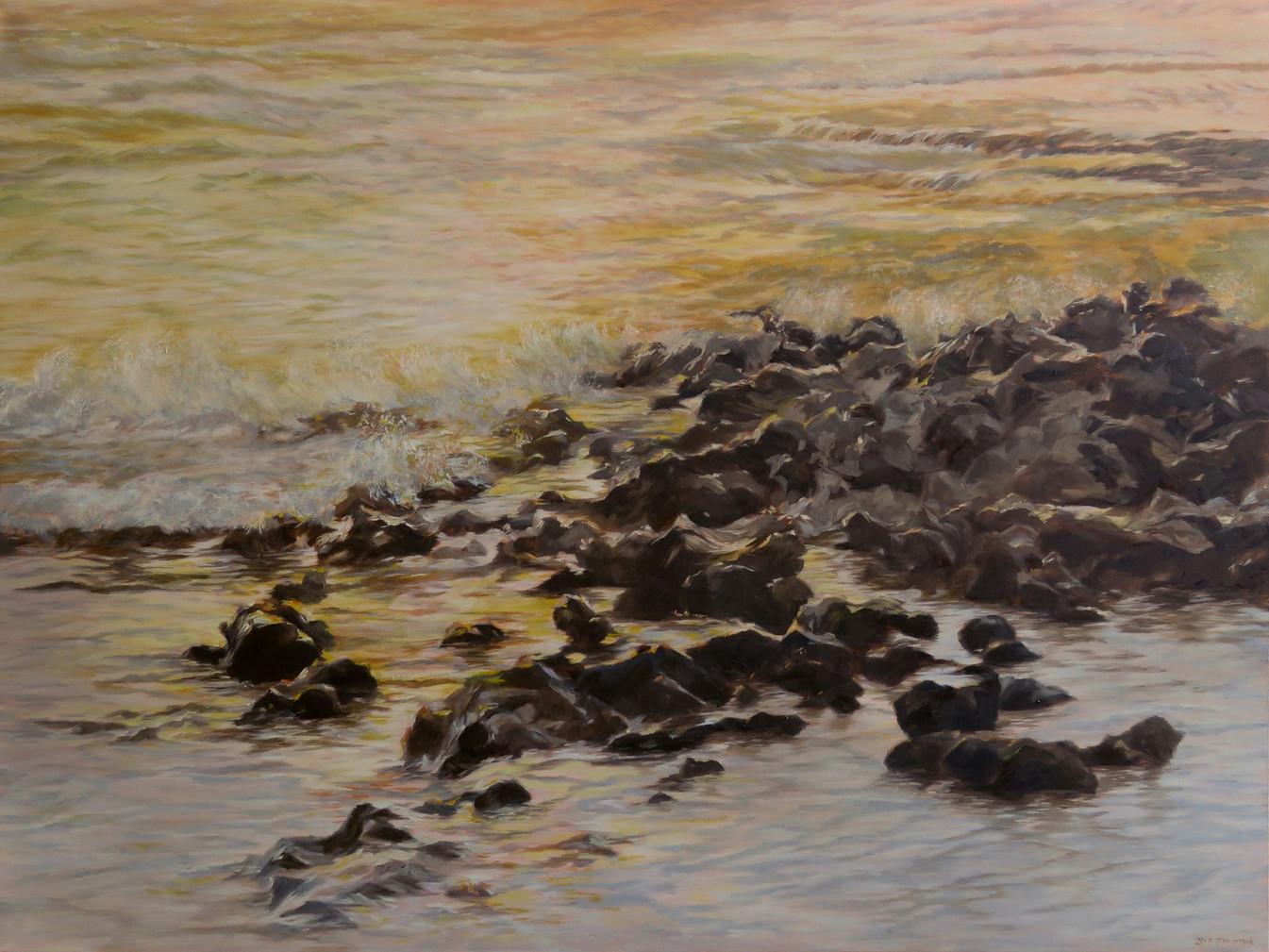 Golden beach-Oil on canvas-120X90cm-2017