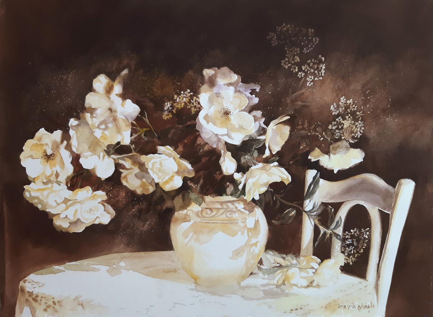 Brown roses-Watercolor-76X56cm-2019