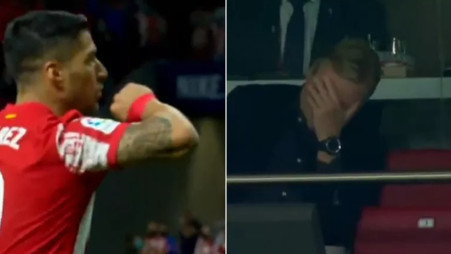 Video: Ronald Koeman's reaction to Luis Suarez scoring for Atletico Madrid vs Barcelona