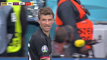 Thomas Muller reacts with FURY after being substituted at end Euro 2020 loss