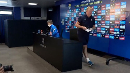 Barcelona manager walks out of press conference after reading statement