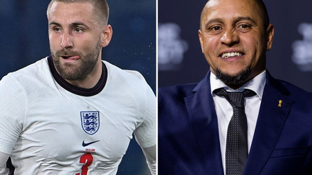 Roberto Carlos reacts to Manchester United player Luke Shaw's England performance