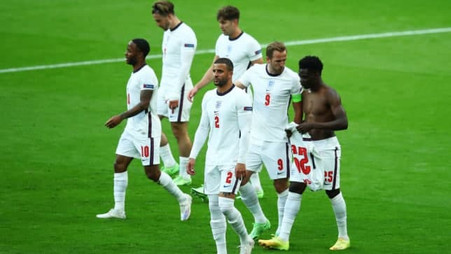 Bukayo Saka explains why he took his England shirt off after Raheem Sterling's goal