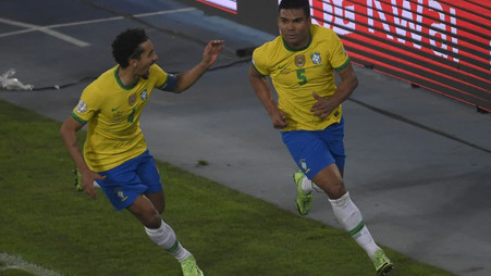 Watch as Real Madrid star Casemiro triggers wild celebrations with 100th-minute winner for Brazil