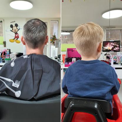 Papa und Kind Haarschnitt