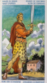 Knave of Swords holding up a sword dressed in fine garb, looking towards the future.