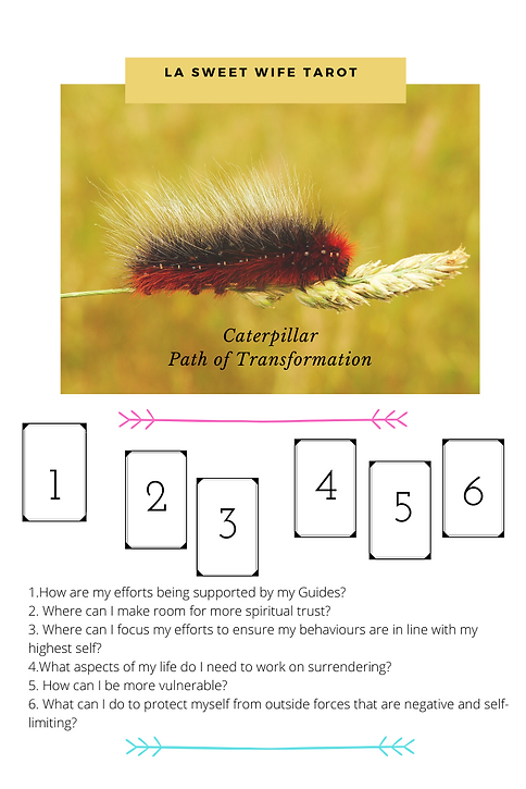 Caterpillar Transformation Tarot Spread.