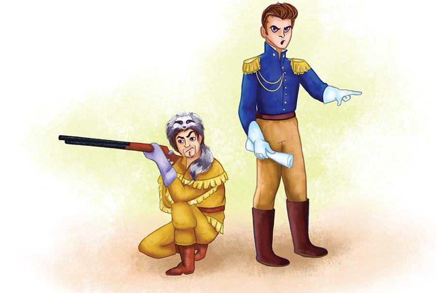 William B. Travis and Davy Crockett