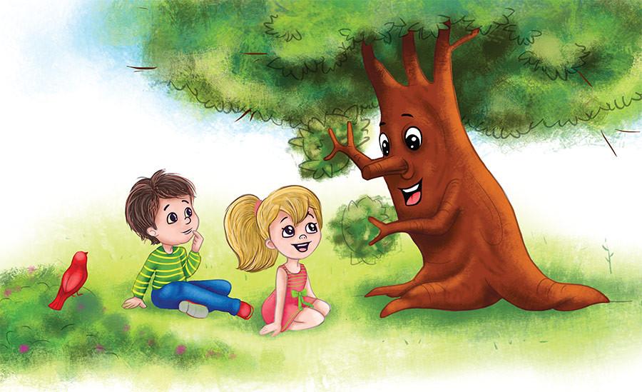 Alamo Tree Children with Tree
