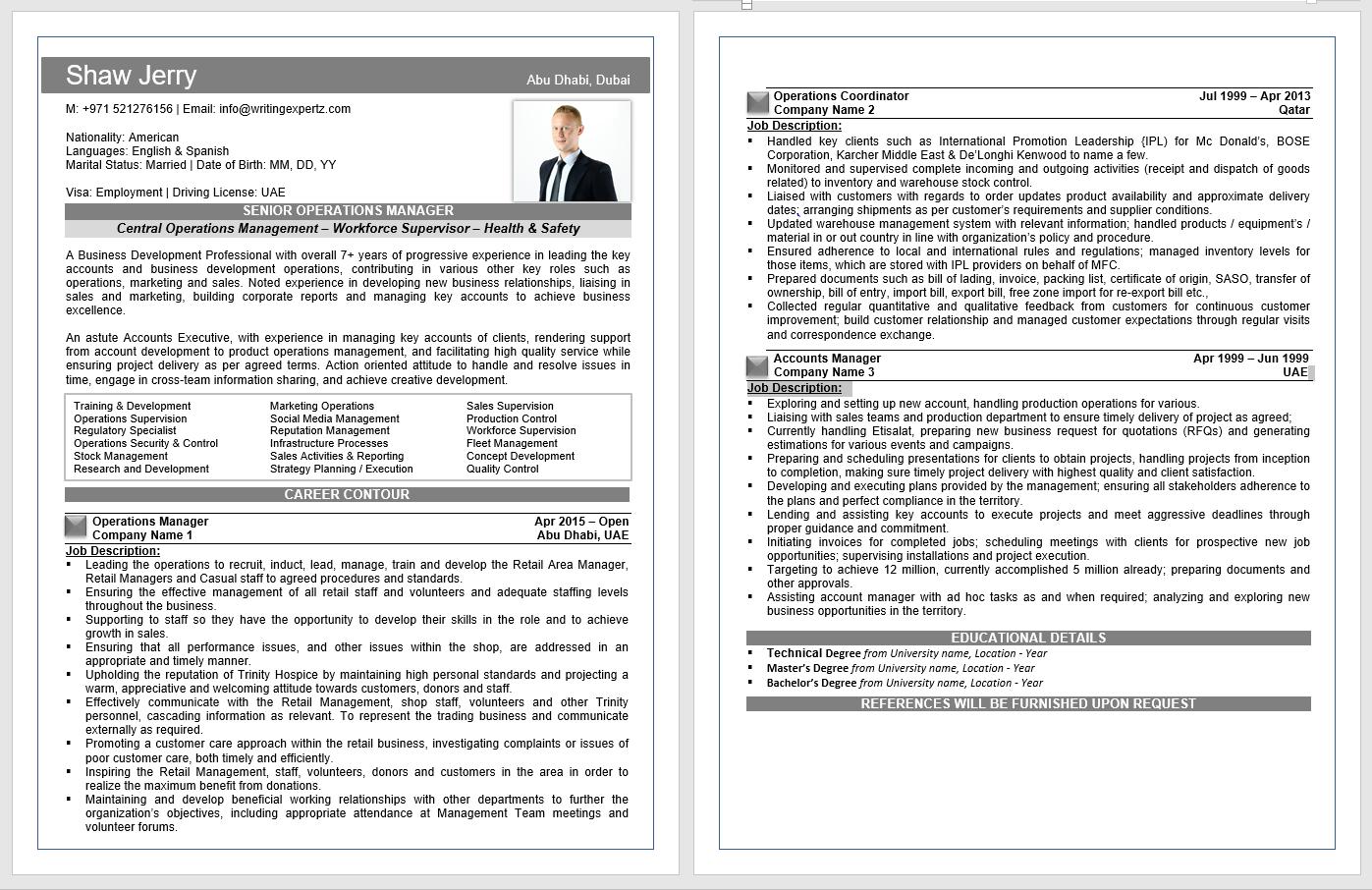 Standard CV writing in Dubai