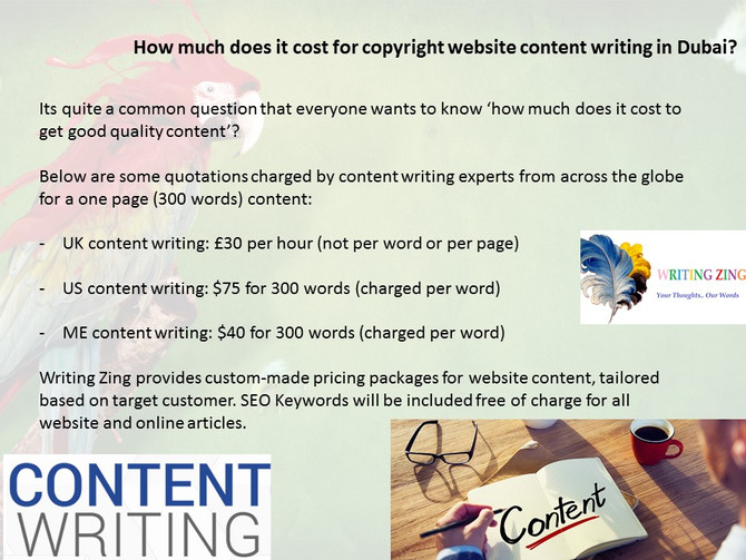 How much does it cost for website content writing?