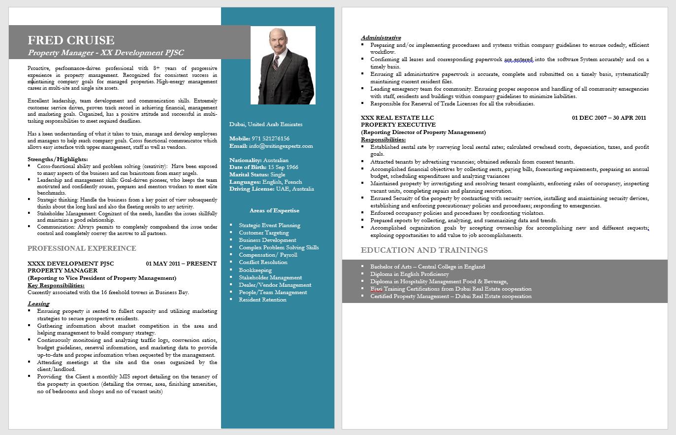 Managerial CV Design in UAE
