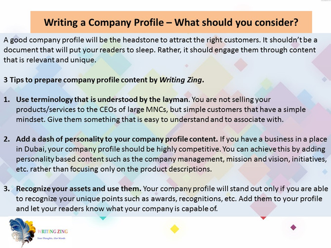 Writing a Company Profile - Tips you should know