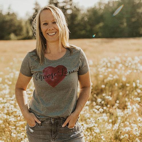 Women's Gray Scoop Neck T-Shirt