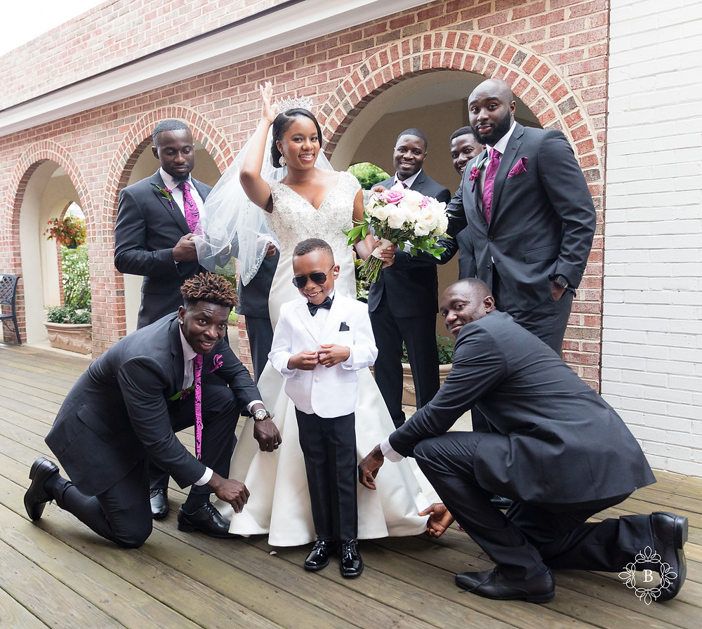 Northern Virginia Culpeper Center and Suites wedding party portraits bride and groomsmen portrait