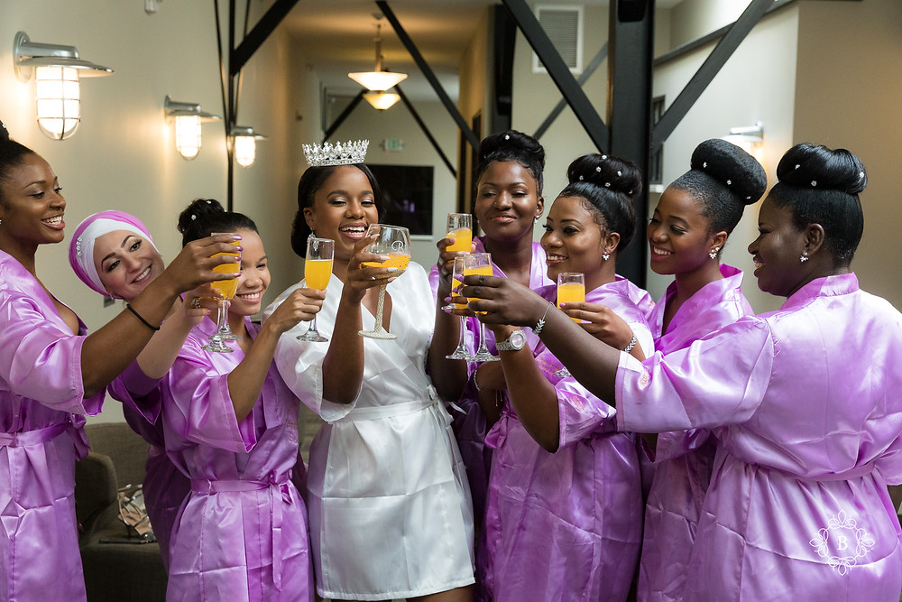 Northern Virginia Culpeper Center and Suites bridal prep mimosa cheers