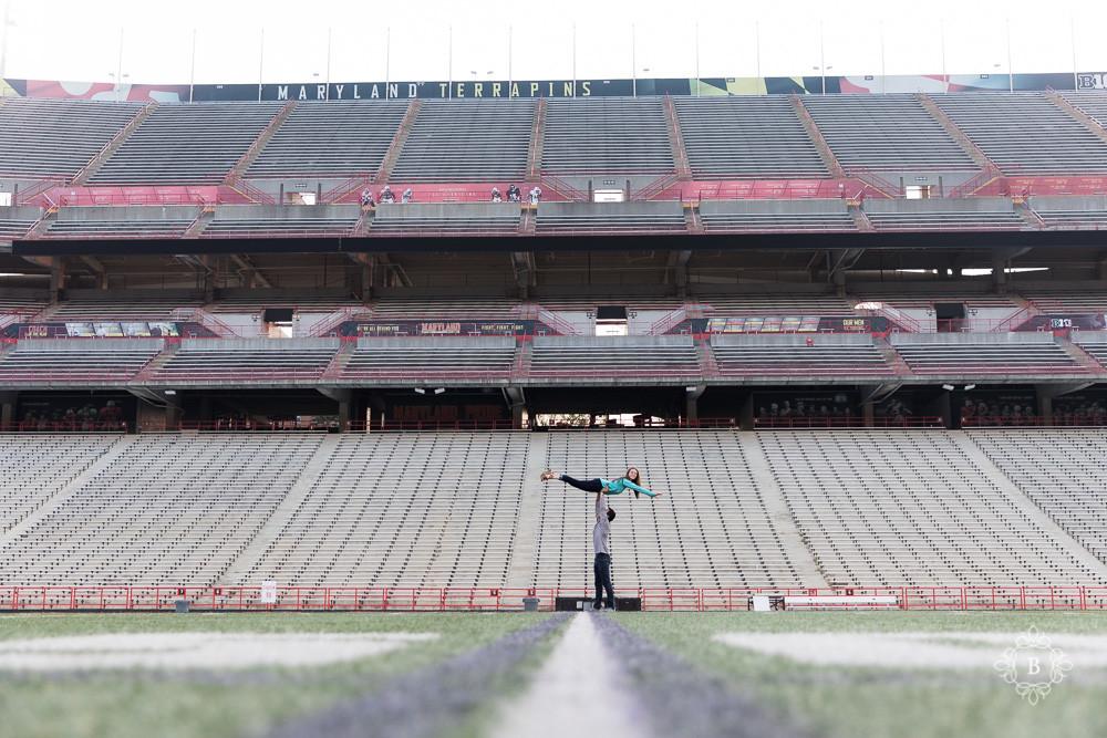 University of Maryland College Park football stadium sunrise engagement photography