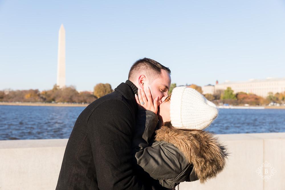 Washington D.C. Thomas Jefferson Memorial surprise sunset engagement she said yes