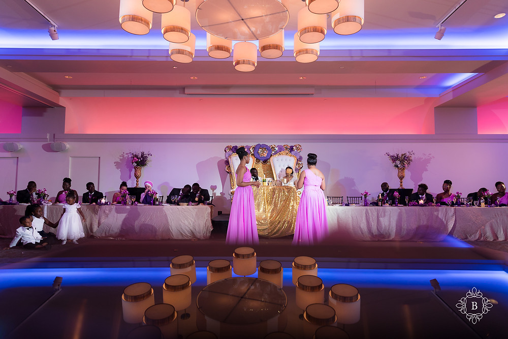 Northern Virginia Culpeper Center and Suites wedding reception bride and groom toasts