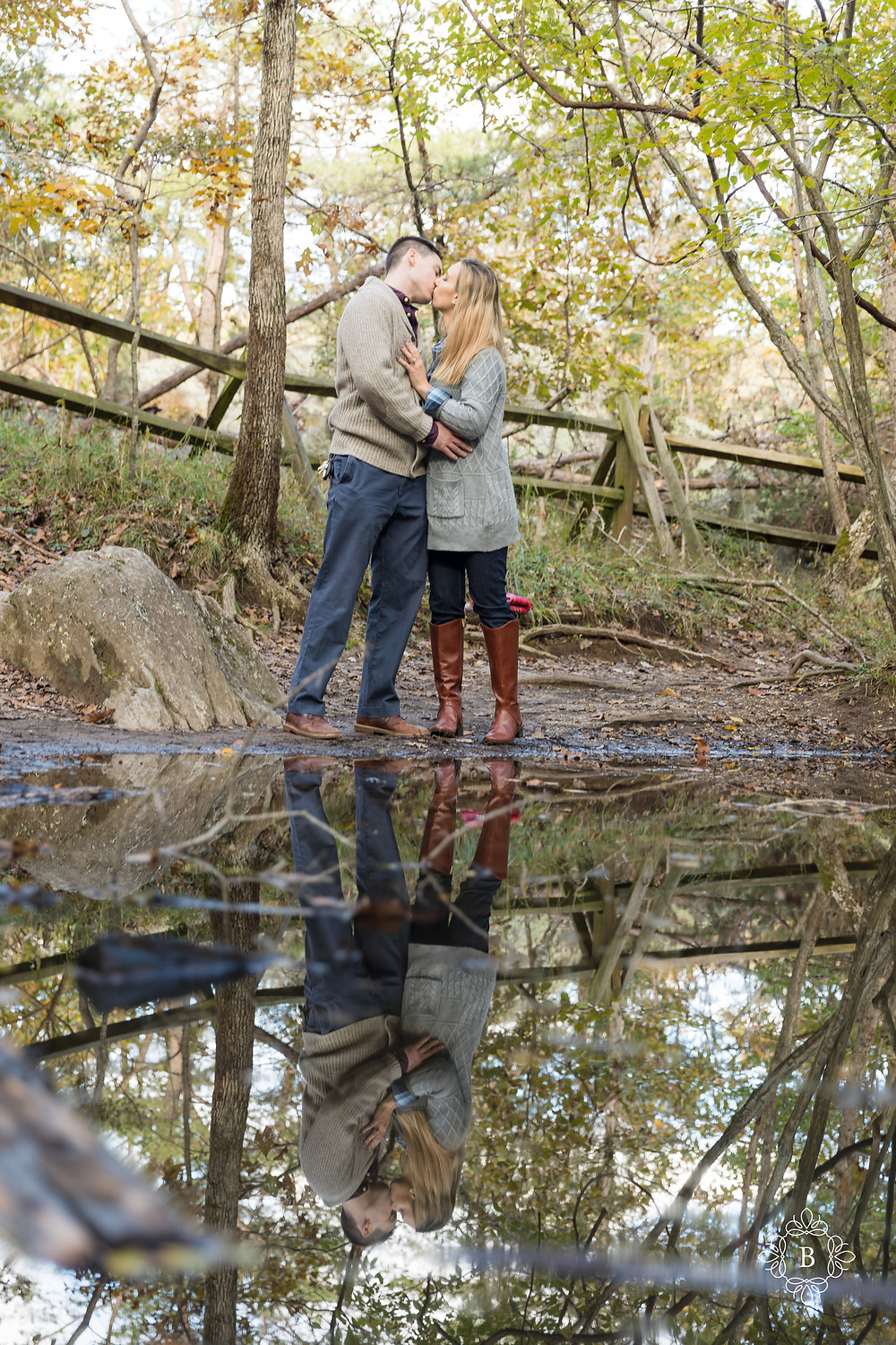 Northern Virginia engagement Great Falls engagement photography pond reflection