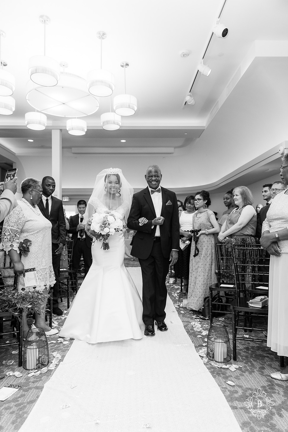 Northern Virginia Culpeper Center and Suites wedding ceremony bride walking down the aisle