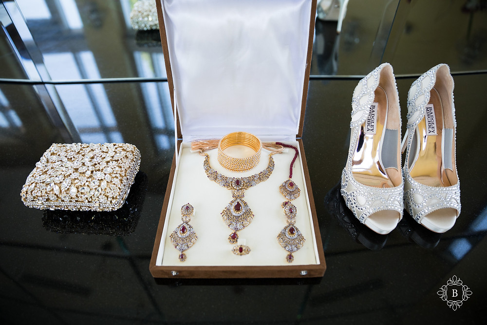 Northern Virginia Desi South Asian wedding bridal details necklace shoes and purse
