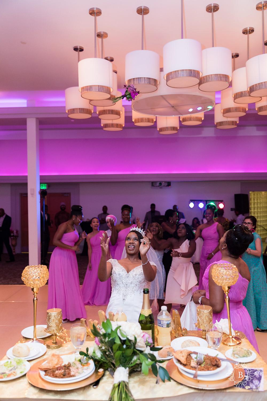 Northern Virginia Culpeper Center and Suites wedding reception bride bouquet toss