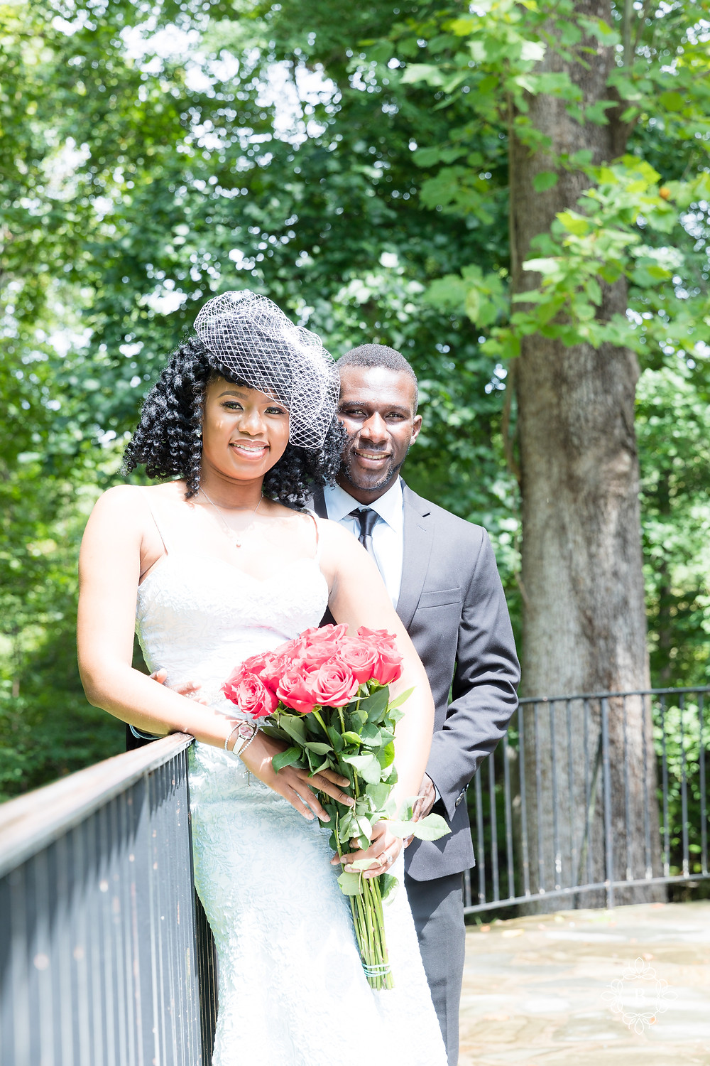 Engagement session on the terrace at Cabell's Mill