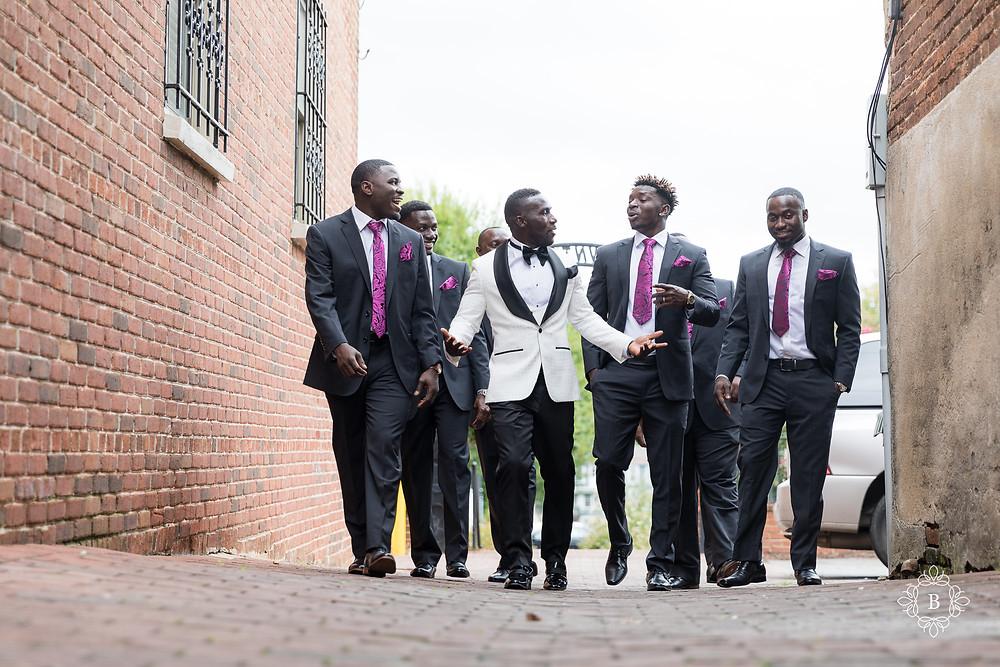 Northern Virginia Culpeper Center wedding groomsmen portraits downtown Culpeper