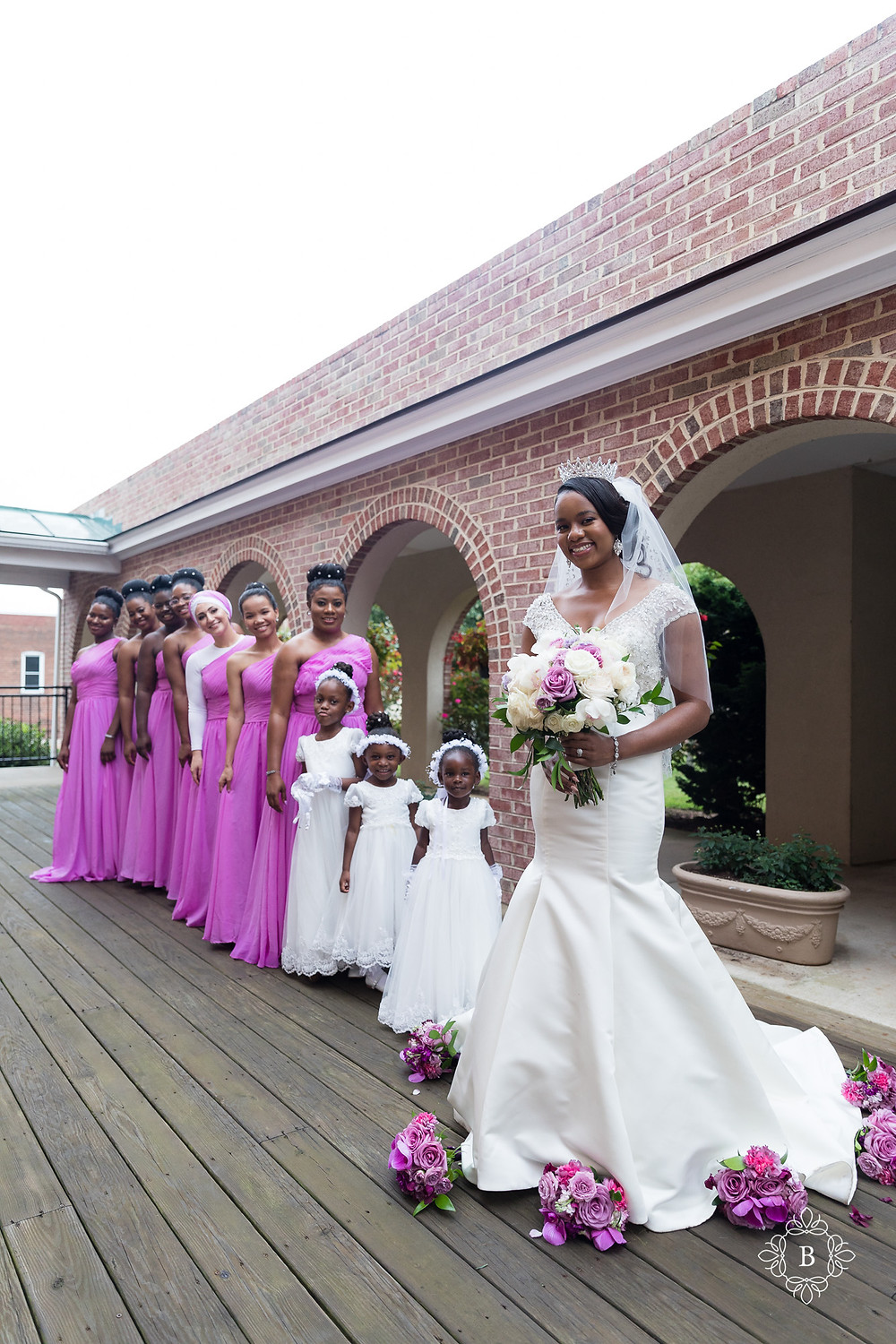 Northern Virginia Culpeper Center and Suites wedding party portraits bridal party portrait church arches